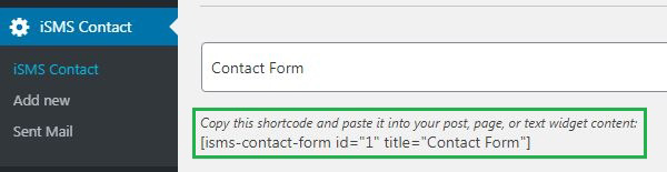 Configure WordPress iSMS Contact Form Plugin Philippines