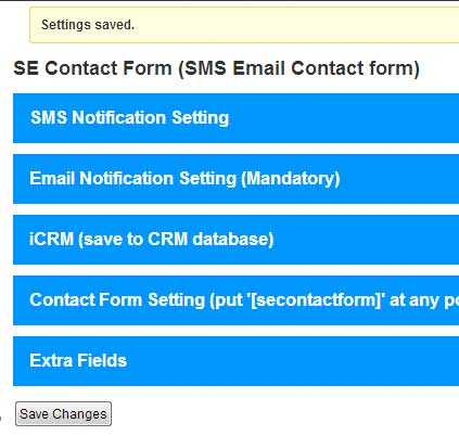 Bulk SMS Philippines Wordpress SE Contact Form with CRM
