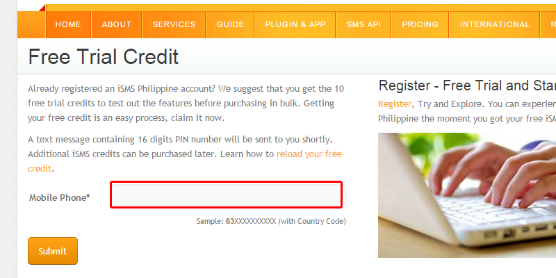 Reload Free Credit iSMS Philippines